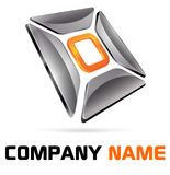 Logo 3d branding abstract. Orange and chrome for company, organization or business name Royalty Free Stock Image