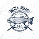 Logo d'or de pêche de Dorado Illustration de vecteur Photographie stock libre de droits