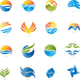Logo, 3D, drawing, music, vector, waves, sun. Logo in 3D, leaves mines, waves and sun Royalty Free Stock Image
