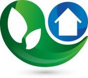 Logo, 3d, drop, house in blue, leaves. Logo in 3D, drop and house in blue, leaves in green Stock Images