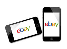 Logo d'Ebay sur l'iPhone Photographie stock libre de droits