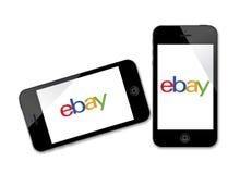 Logo d'Ebay sur l'iPhone Photographie stock libre de droits