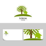 Logo d'Eco avec l'arbre et la maison Photos stock