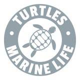 Logo d'espèce marine de tortues, style gris simple Photographie stock libre de droits