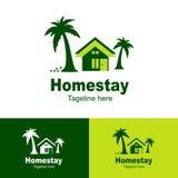 Logo d'hébergement chez l'habitant naturel, résidence de plage, fond simple d'hébergement chez l'habitant d'icône de logo - vecte illustration libre de droits