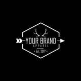 Logo d'habillement, andouillers Logo Vector Design de cerfs communs de marque d'habillement Photos stock