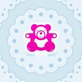 Logo d'icône de carte postale d'ours de nounours de jouet de bébé illustration libre de droits