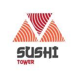 Logo d'illustration de style d'icône de vecteur de barre d'aliments de préparation rapide de rue ou de boutique asiatique, sushi, Images libres de droits