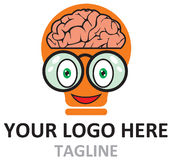 Logo d'ilustratiom de bande dessinée de Brain Geek Idea dans le vecteur Images stock