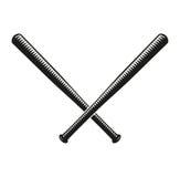 Logo d'isolement de battes de baseball croisé par couleur noire abstraite Logotype américain d'équipement de sport Icône national Images stock