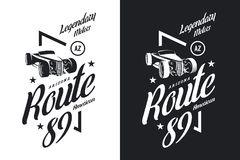 Logo d'isolement noir et blanc de vecteur de voiture de roadster de vintage Illustration Libre de Droits