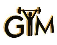 logo d'isolement par gymnastique de la forme physique 3d Images libres de droits
