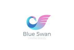 Logo d'oiseau de vecteur de conception de logo de cygne de cosmétiques de beauté Image stock