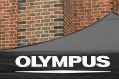 Logo d'Olympe sur une tente photo stock
