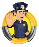 logo 3d Polis som beställer för att stoppa med handen Arkivbilder
