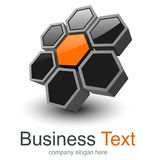 Logo 3D symbol. With black orange hexagons, vector design Royalty Free Illustration