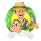 logo 3d Trädgårdsmästare med en liten spade Arkivbilder
