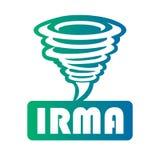 Logo d'une tornade multicolore avec une inscription Irma sur un fond blanc Photos stock