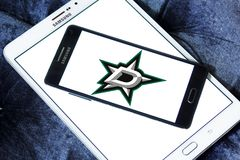 Dallas Stars ice hockey team logo. Logo of Dallas Stars ice hockey team on samsung mobile. The Dallas Stars are a professional ice hockey team based in Dallas Stock Images