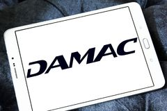 DAMAC Properties company logo. Logo of DAMAC Properties company on samsung tablet . DAMAC Properties is a property development company, based in Dubai, in the Royalty Free Stock Photo