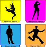Logo dance women men gym club. A set of logo dance women men gym club Royalty Free Stock Images