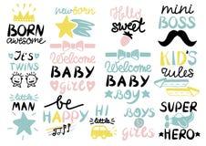 Logo das 13 Kind s mit Handschrift geborenem ehrfürchtigem, willkommenem Baby, Kinderregeln, Mädchen und Jungen, ist- der glückli vektor abbildung