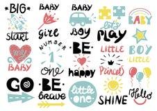Logo das 15 Kind s mit Handschrift wenig eine, hallo Baby, Glanz, Mädchen, Junge, ist tapfer, glücklich, GEHEN, großer Anfang, lä stock abbildung