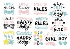Logo das 13 Kind s mit kleinem Mann der Handschrift, Dame, Mädchen, Jungen ordnet, Mama, glückliches Baby des Vatis, hallo, es s- stock abbildung