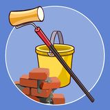 Logo de bande dessinée avec les briques seau et le rouleau de peinture illustration stock