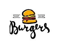 Logo de bande dessinée d'hamburger d'aliments de préparation rapide ou icône tiré par la main, emblème illustration de vecteur