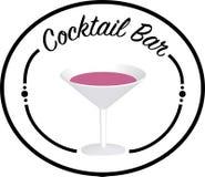Logo de barre de cocktail avec le verre dans le moyen/transparant photos stock