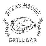 Logo de barre de grill ou de gril Rib Eye Steak Beef Cut avec le lettrage en thym Herb Frame de s Logo de viande pour le boucher  illustration libre de droits