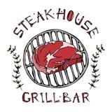 Logo de barre de grill ou de gril Rib Eye Steak sur un gril Le boeuf a coupé avec le lettrage en thym Herb Frame de s Logo de via illustration libre de droits