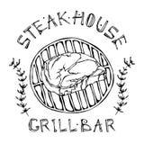 Logo de barre de grill ou de gril Rib Eye Steak sur un gril Le boeuf a coupé avec le lettrage en thym Herb Frame de s Logo de via illustration stock
