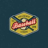 Logo de base-ball de vintage rétro emblème dénommé de sport Illustration de vecteur illustration stock