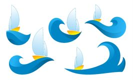Logo de bateau sur une vague sur un fond blanc Photos libres de droits