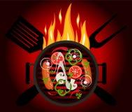 Logo de BBQ sur un fond rouge illustration libre de droits