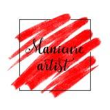 Logo de beauté avec marquer avec des lettres l'artiste de manucure, bannière, affiche images libres de droits