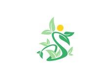 Logo de beauté de station thermale, symbole de personnes d'usine de bien-être, vecteur de conception d'icône de la lettre S Photographie stock