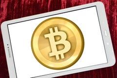 Logo de Bitcoin sur l'étiquette de sumsung images stock