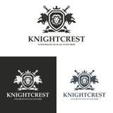 Logo de bouclier de lion de crête de chevalier Image libre de droits