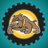 Logo de bouledogue avec un contexte de trains Photos libres de droits