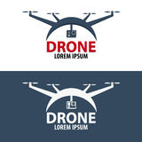 Logo de bourdon Conception plate Magasin de Quadrocopter Illustration de vecteur Photographie stock libre de droits