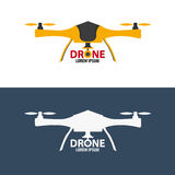 Logo de bourdon Conception plate Magasin de Quadrocopter Illustration de vecteur Photos libres de droits