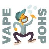 Logo de boutique de Vape avec le caractère plat de garçon illustration stock