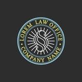 Logo de cabinet juridique Dirigez la mandataire de vintage, label d'avocat, insigne ferme juridique Acte, principe, conception ju illustration libre de droits