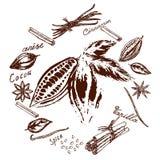 Logo de cacao et d'épices illustration de vecteur