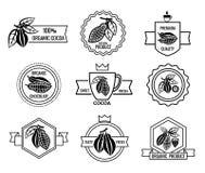 Logo de cacao et ensemble de labels de chocolat illustration de vecteur