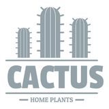 Logo de cactus de botanique, style gris simple Photo stock