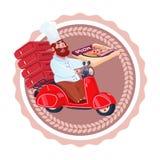 Logo de calibre d'isolement rétro par icône de la livraison de nourriture de restaurant de scooter de Deliver Pizza Riding de cui illustration de vecteur